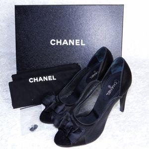 Chanel Satin Mesh Peep Toe Heels Classic Black 40